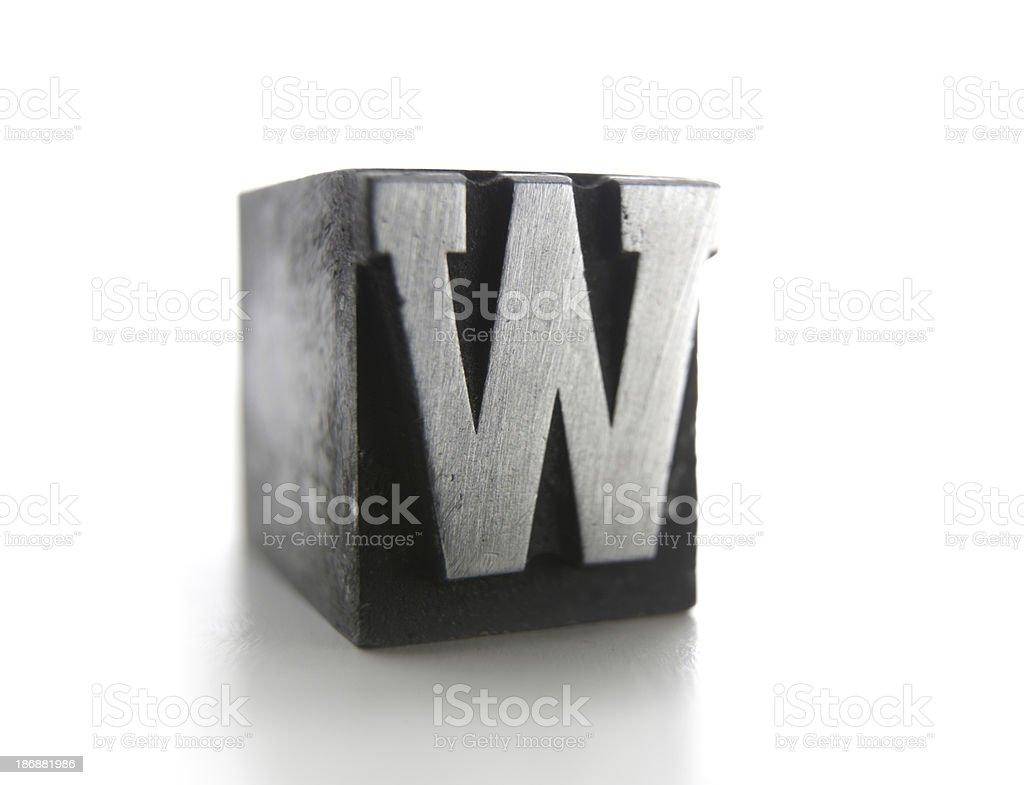 W letterpress royalty-free stock photo