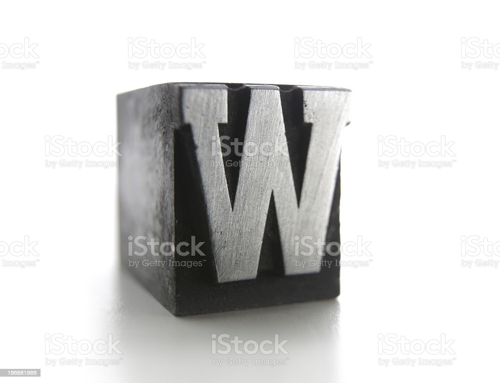 W letterpress stock photo