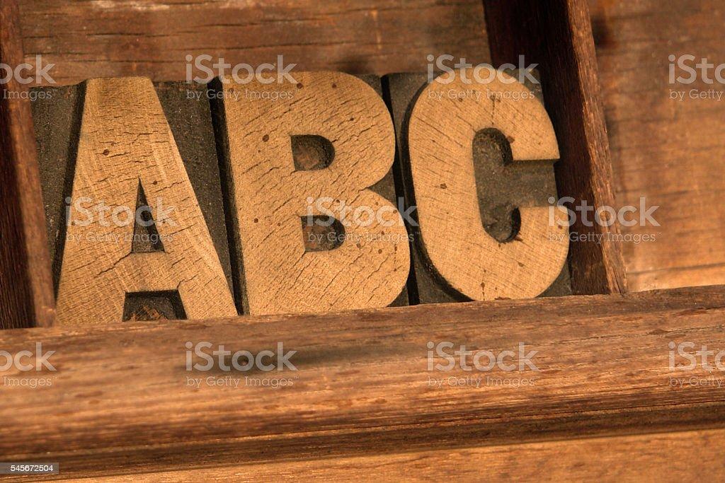 ABC letterpress stock photo