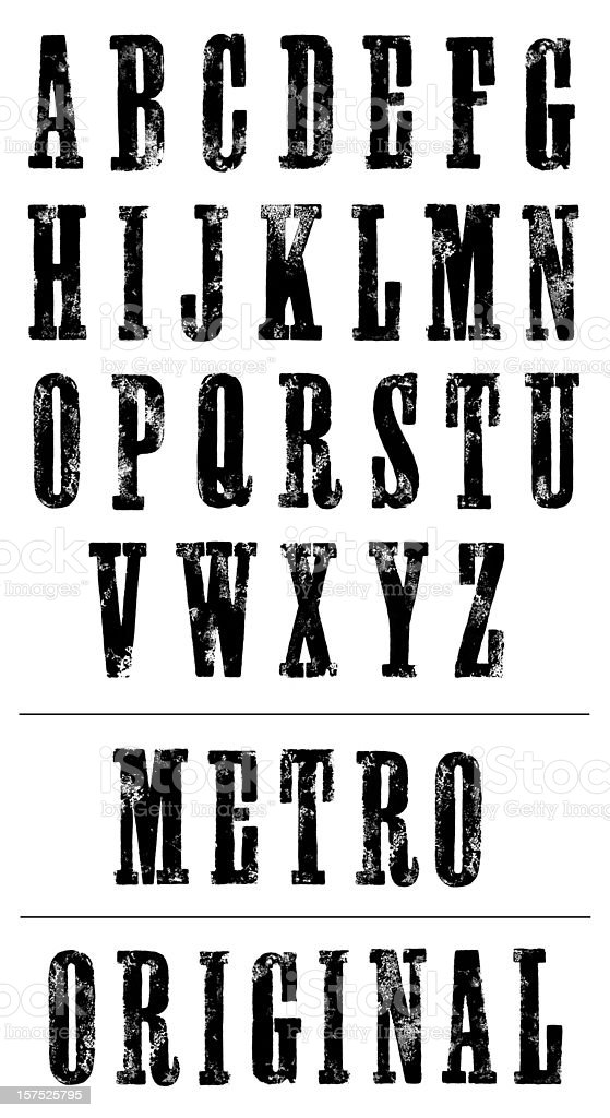 Letterpress Poster Font (Serif ) - Hand Printed Alphabet (XXXL) stock photo