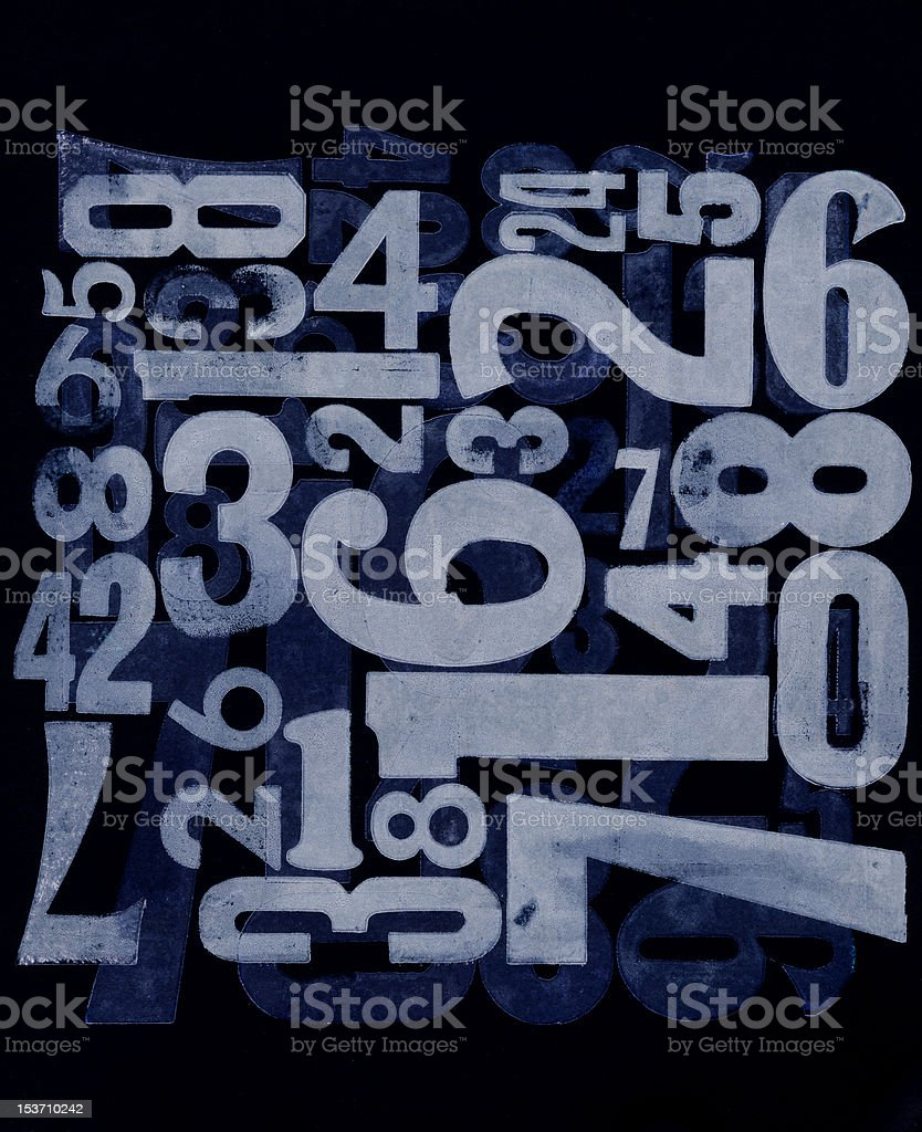 letterpress printed numbers royalty-free stock photo