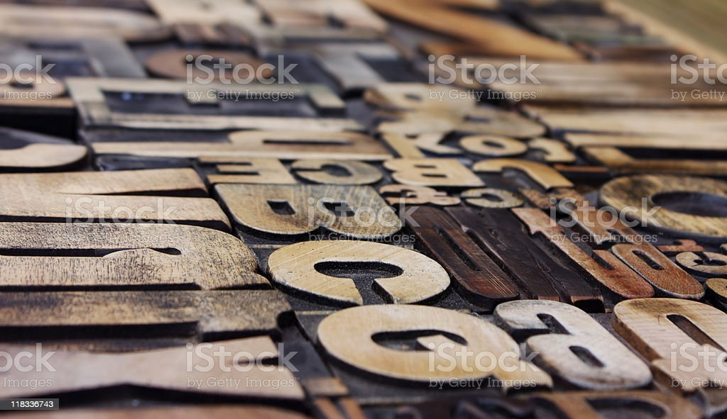 Letterpress side view royalty-free stock photo