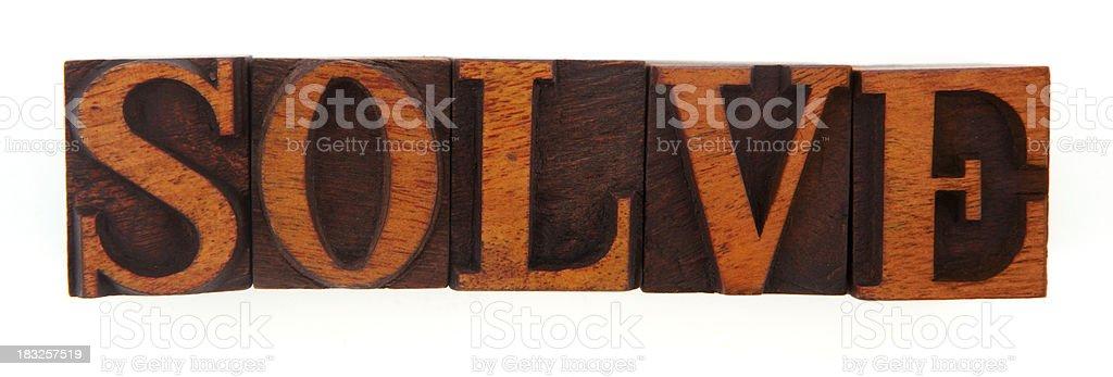 Letterpress - Solve stock photo