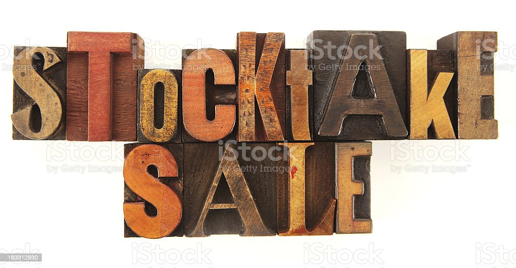 Letterpress - Stocktake Sale stock photo