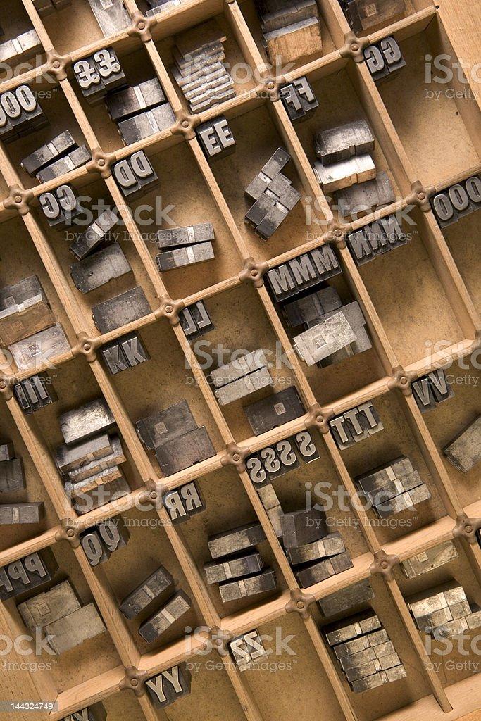 Letterpress type case stock photo