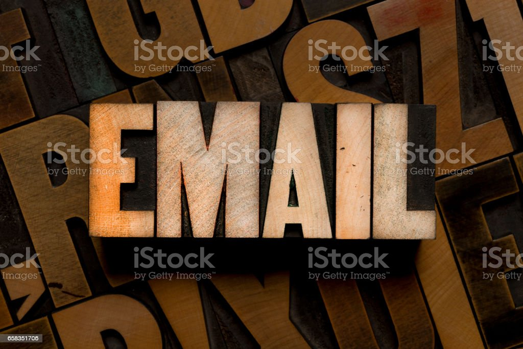 Letterpress type - EMAIL stock photo