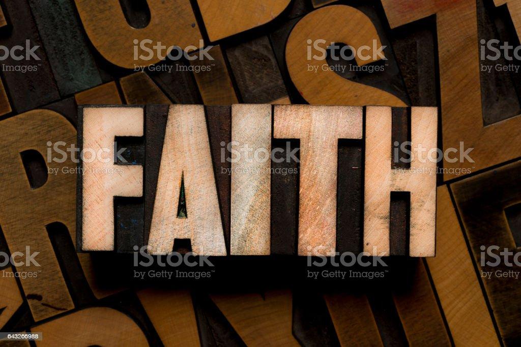 Letterpress type - FAITH stock photo