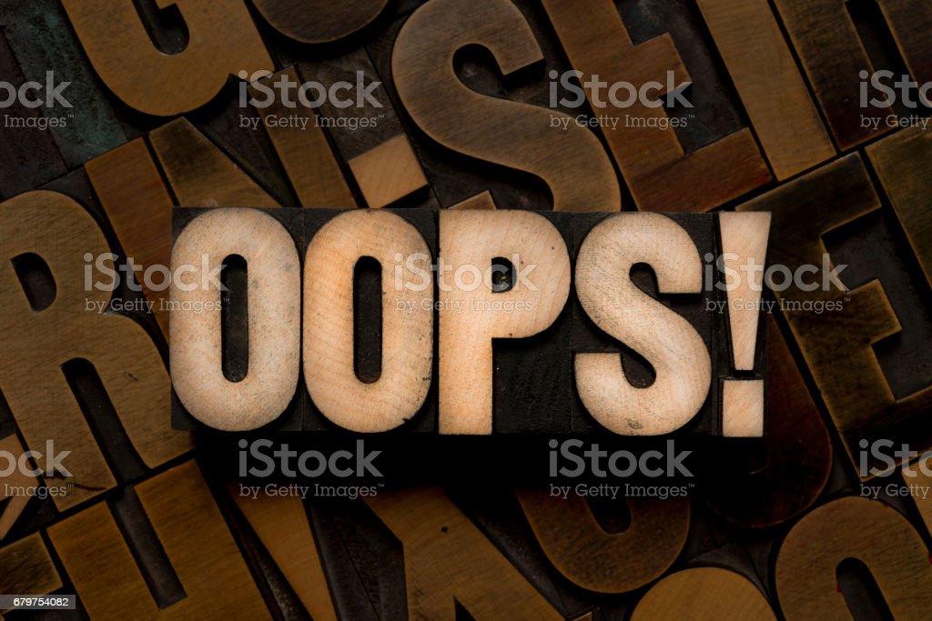 Letterpress type - OOPS! stock photo