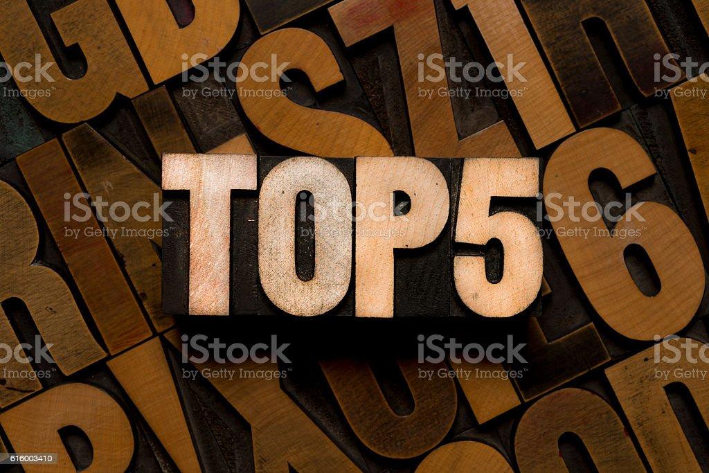 TOP 5 - letterpress type stock photo