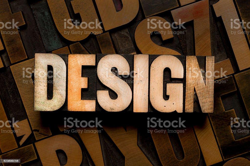 DESIGN - Letterpress type stock photo