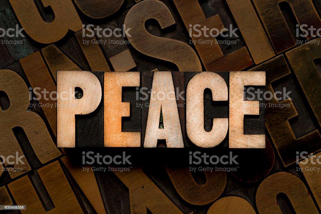 PEACE - Letterpress type stock photo