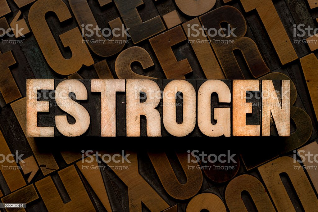 ESTROGEN - Letterpress type stock photo
