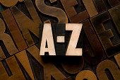 A-Z, letterpress type
