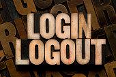 LOGIN & LOGOUT - letterpress type