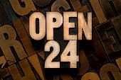 OPEN 24 - letterpress type