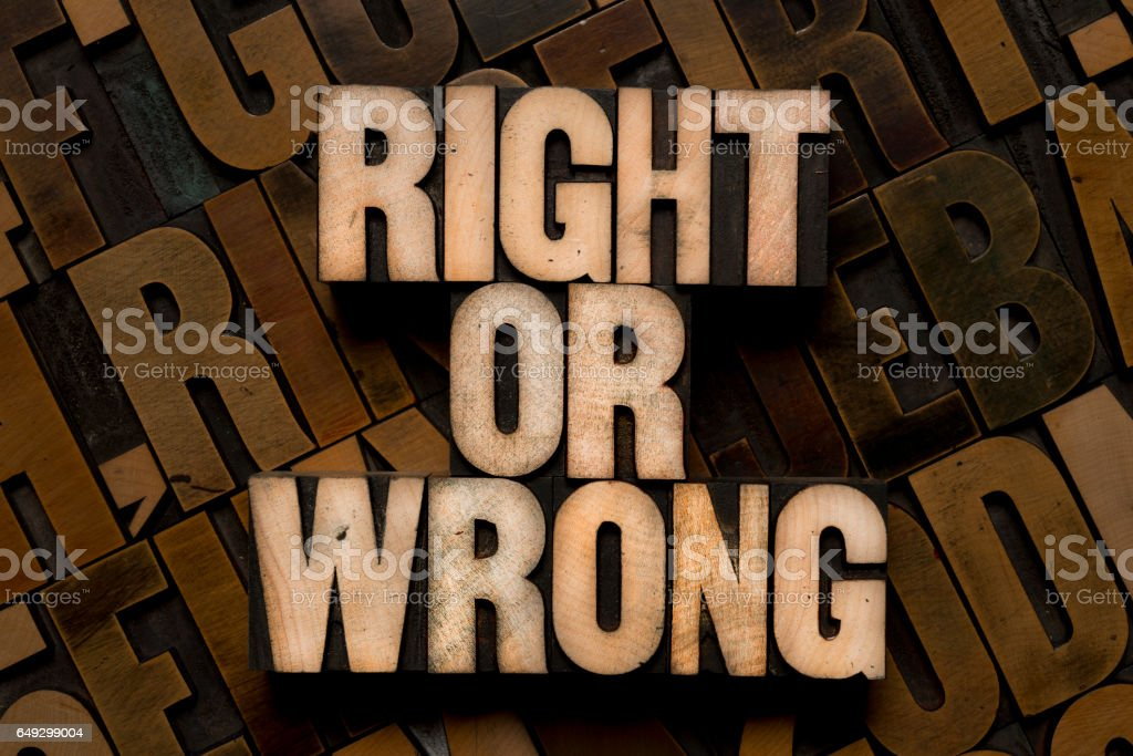 Letterpress type - RIGHT or WRONG stock photo
