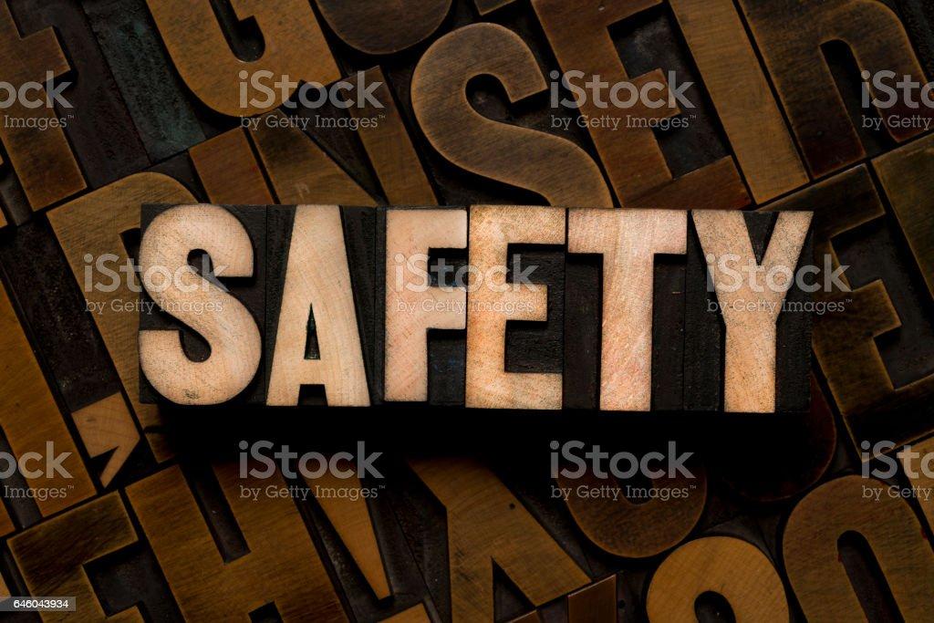 Letterpress type - SAFETY stock photo