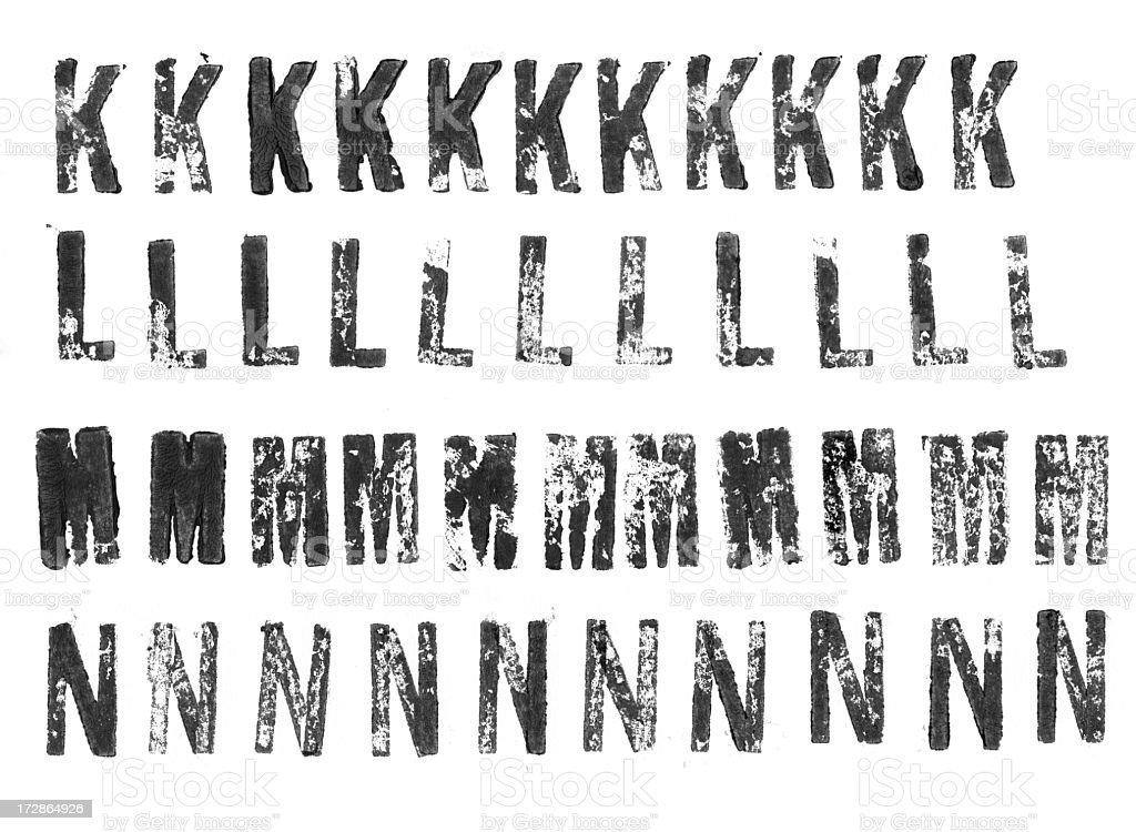 Letterpress uppercase alphabets from K to N stock photo