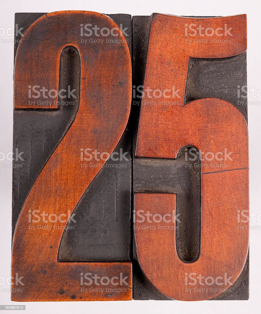 Letterpress wood number 25 stock photo