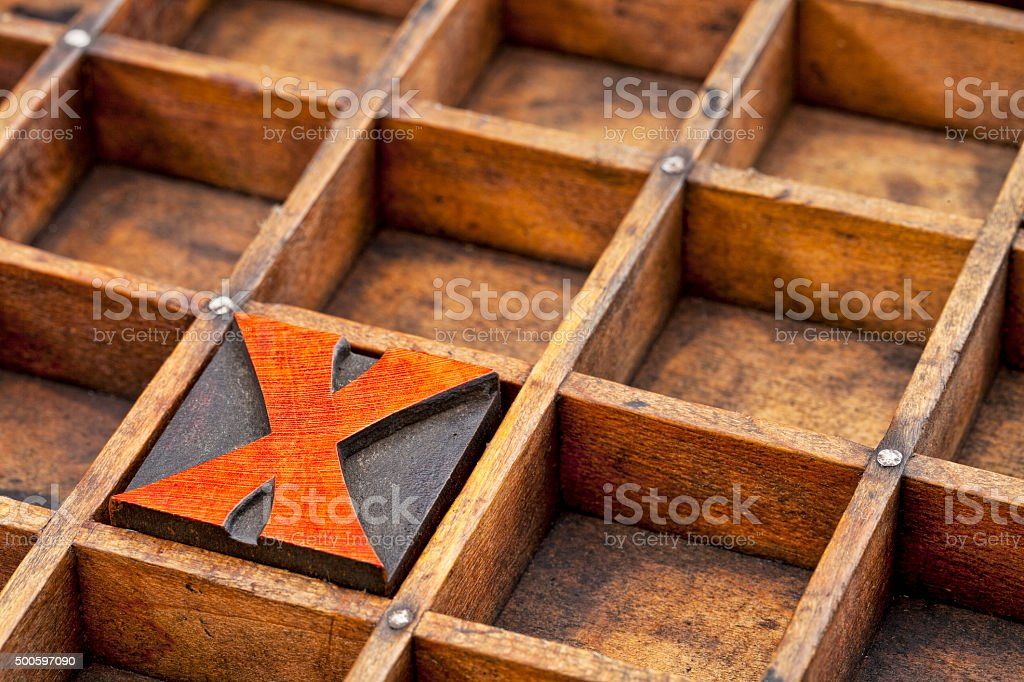 letterpress wood type  letter X stock photo