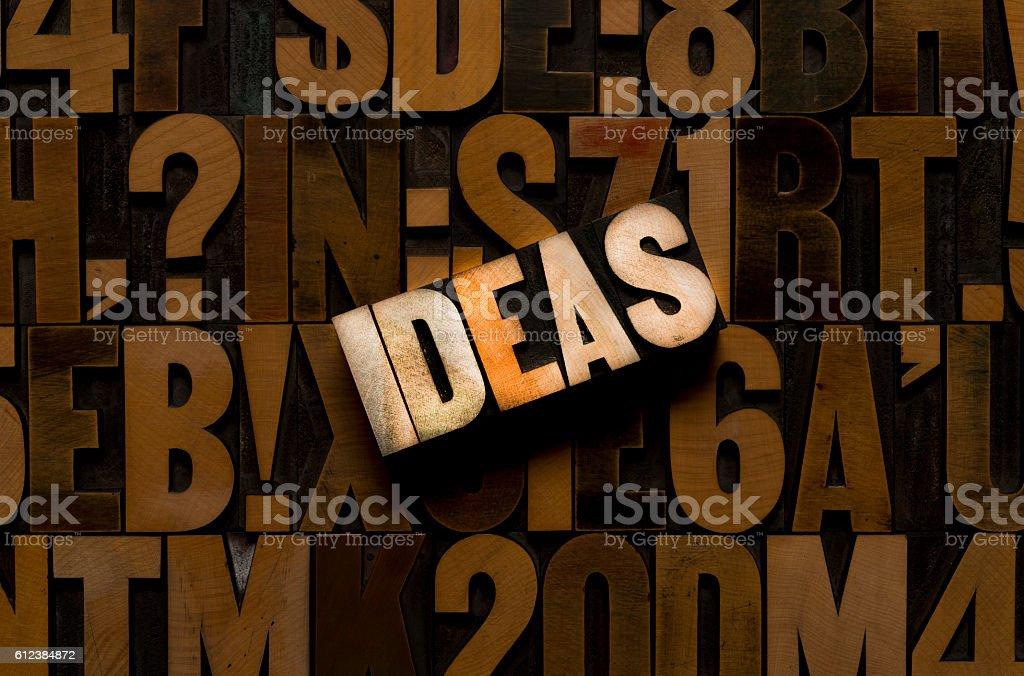 IDEAS - Letterpress Wood Type stock photo