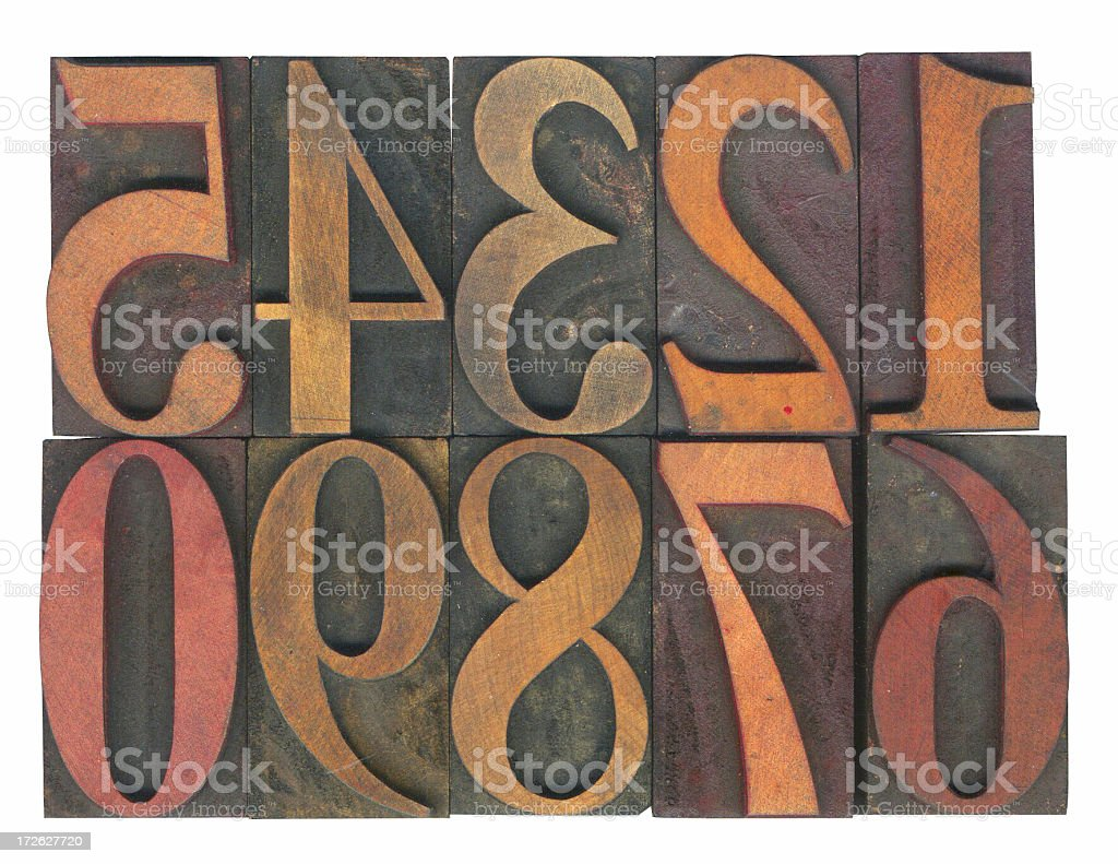 Letterpress Wooden Numerals stock photo
