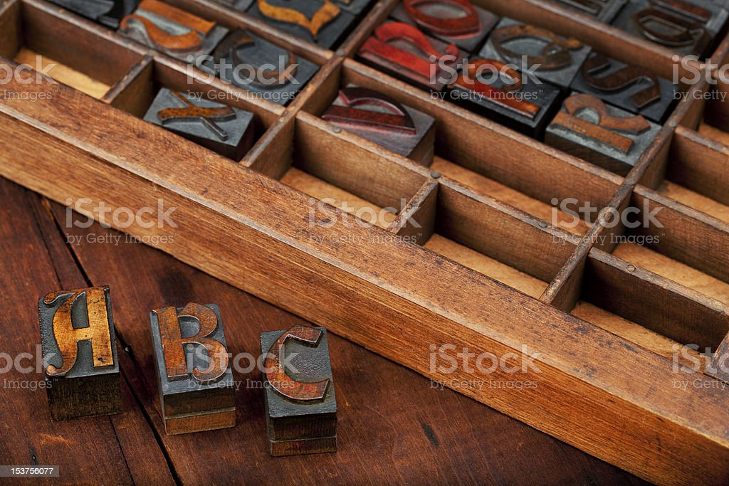 Letters A, B and C in vintage type royalty-free stock photo