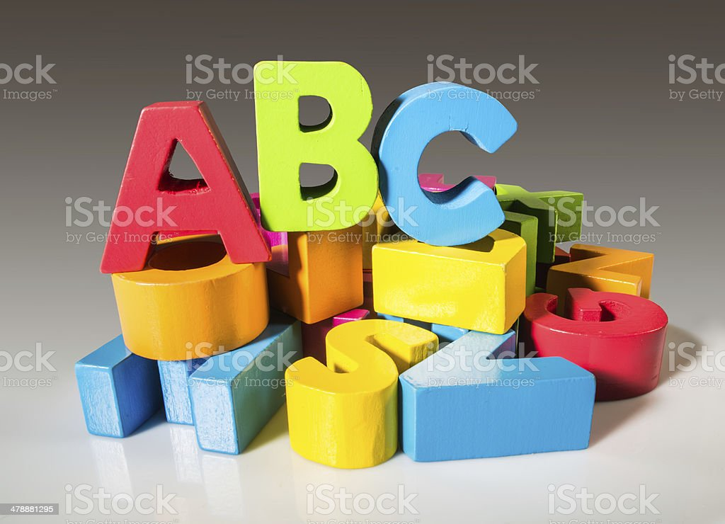 Letters A B C made of wood. stock photo