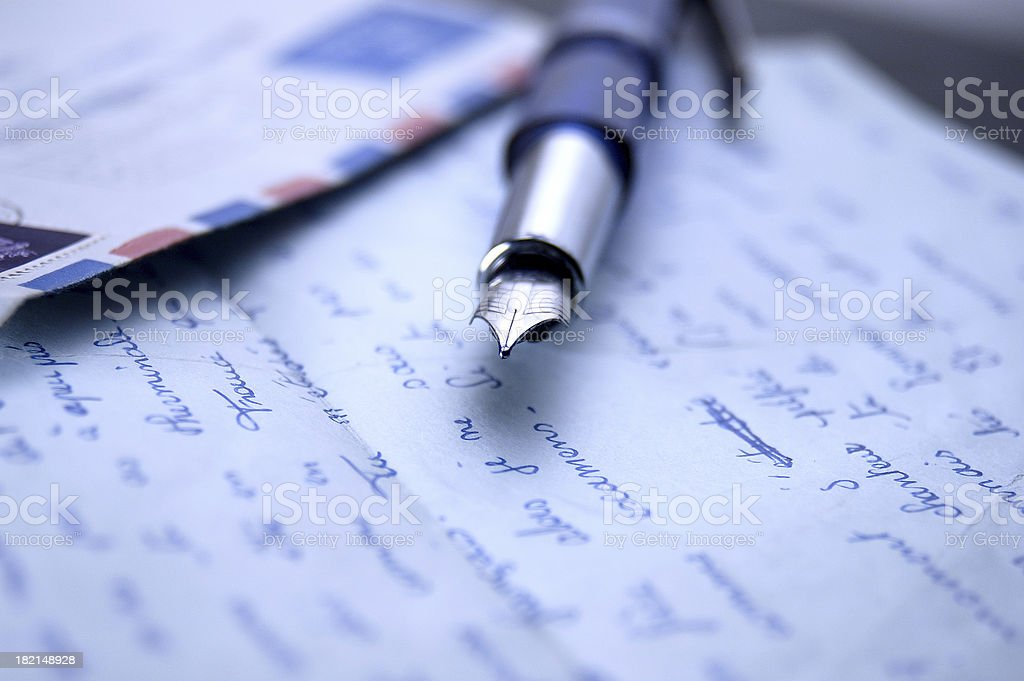 Letters and fountain pen royalty-free stock photo