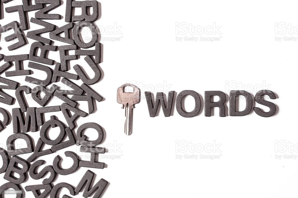 Letters and key stock photo