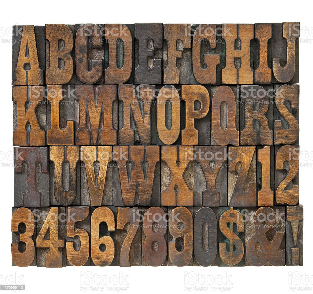 letters and numbers in vintage type stock photo