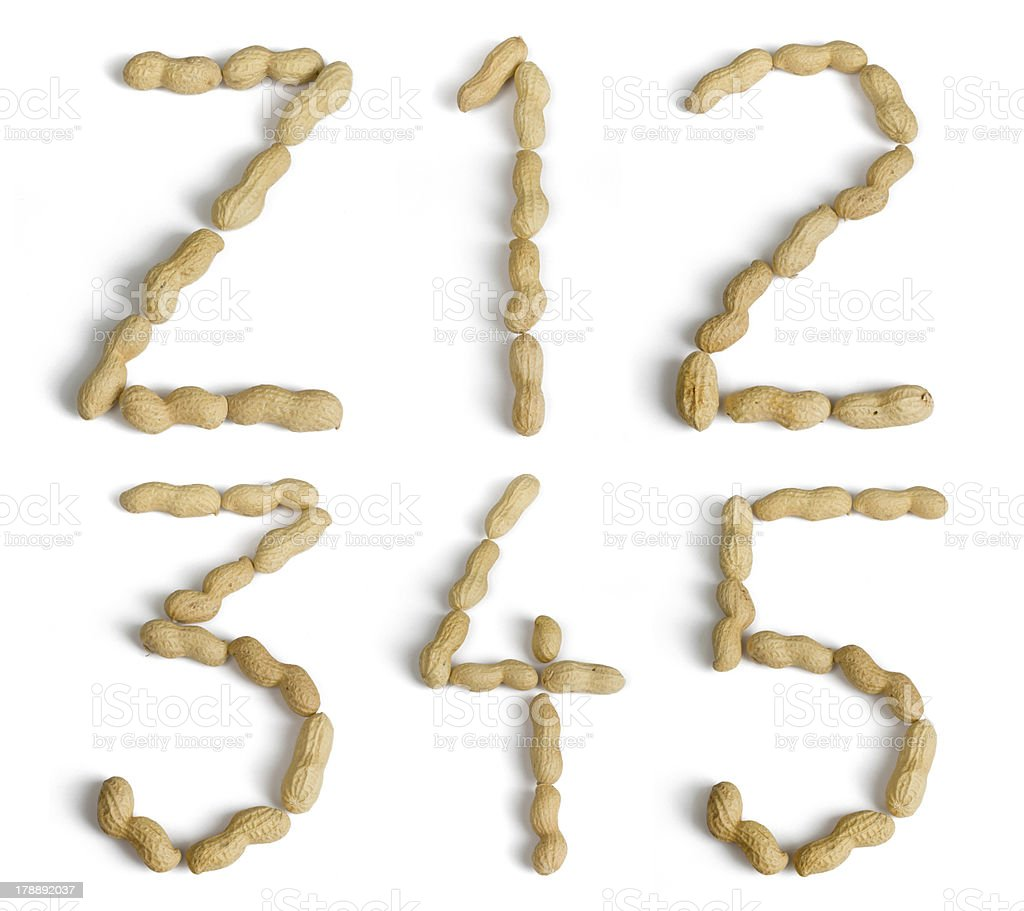 Letters and Numbers Made of Peanuts royalty-free stock photo