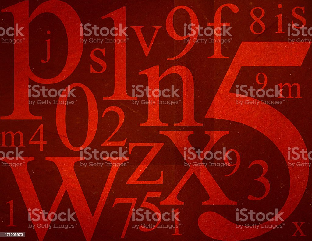 Letters and Numbers Mix royalty-free stock photo