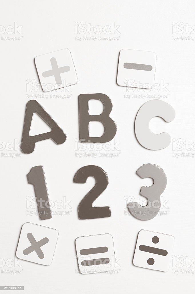 Letters and Numbers with Math Symbols stock photo