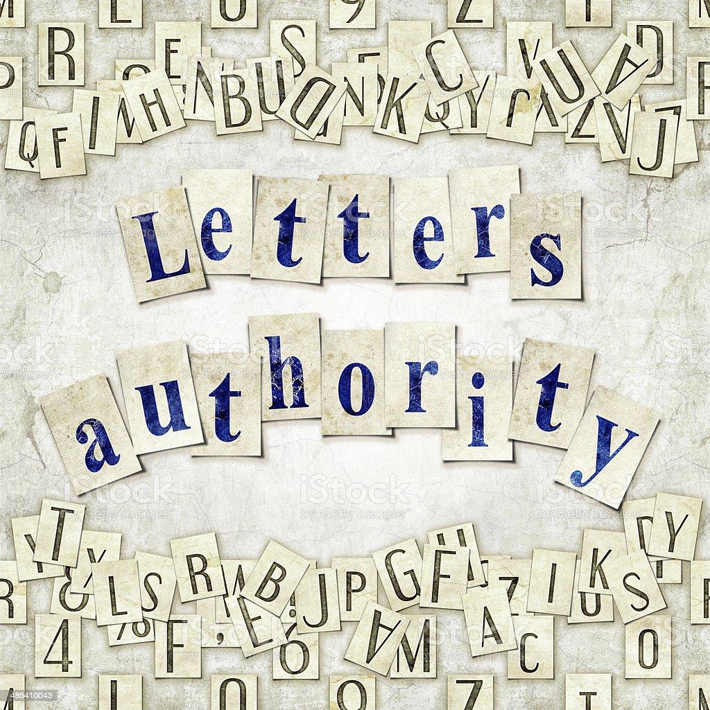 letters authority stock photo