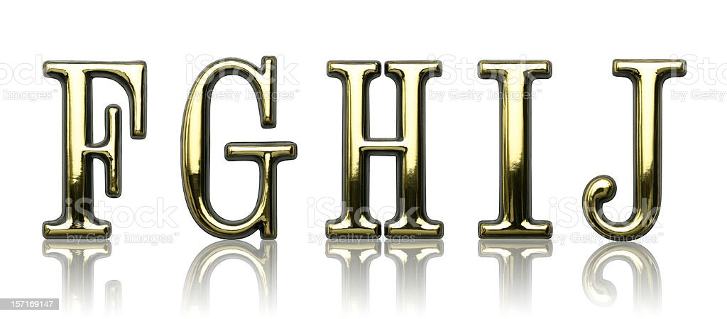 Letters - F G H I J stock photo