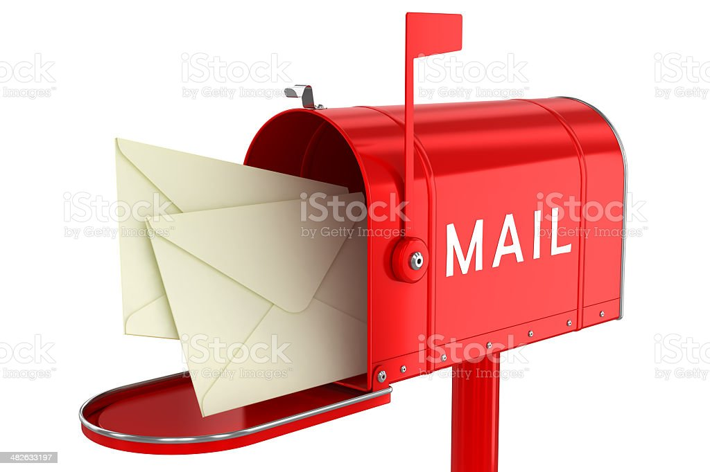 Letters in an open mailbox stock photo