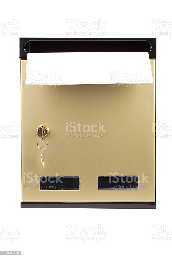 letters in gilded mailbox stock photo