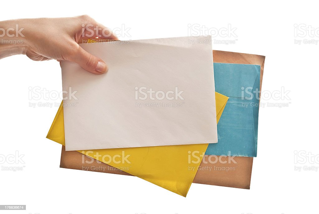 Letters in hand royalty-free stock photo