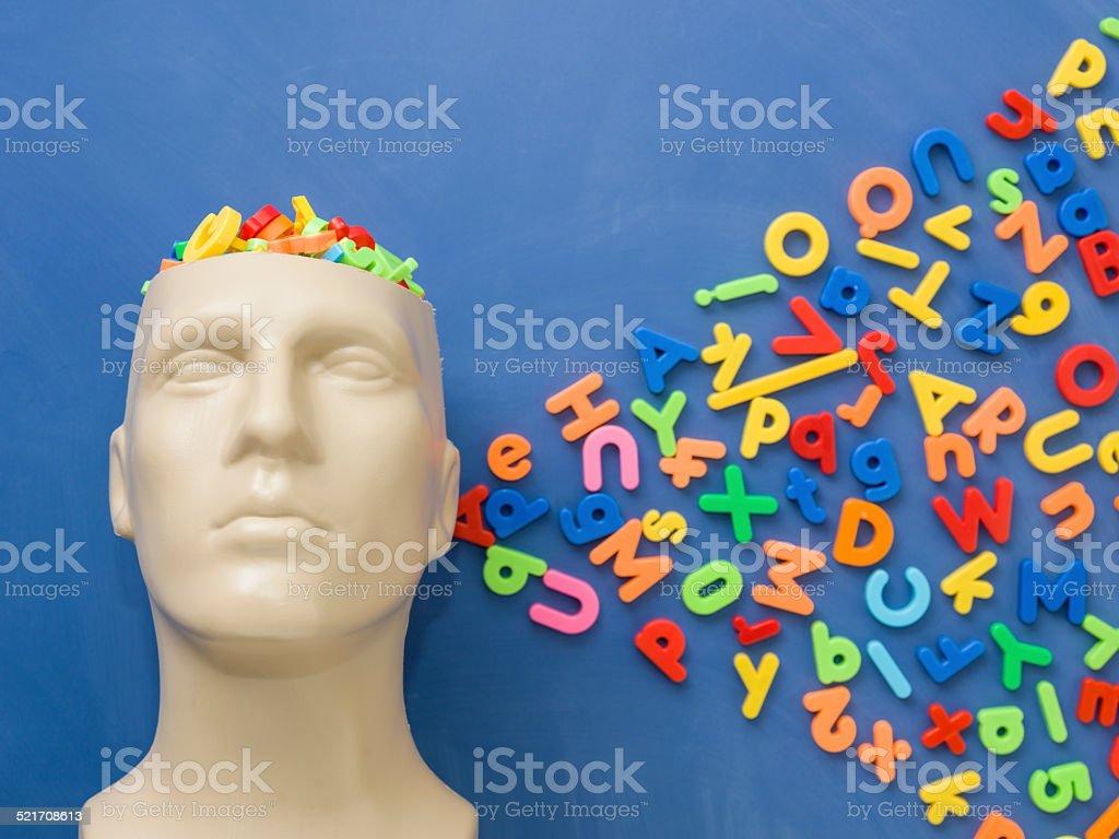 Letters in plastic mannequin head over blue blackboard stock photo