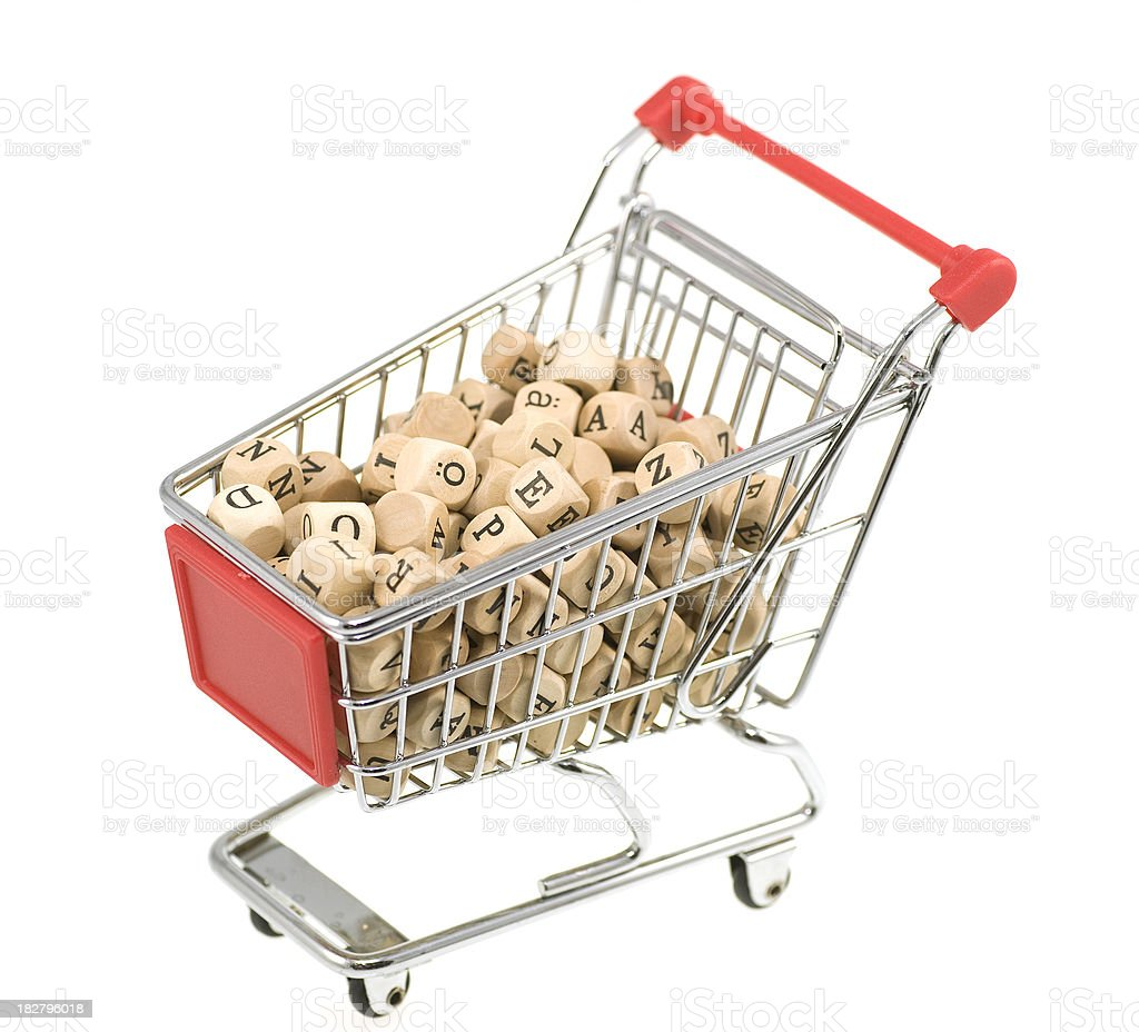 letters in shopping-cart stock photo