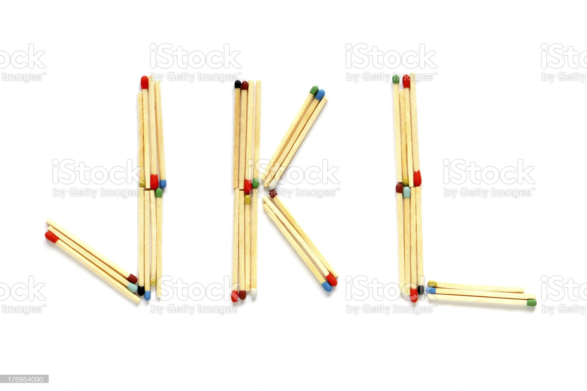 Letters J, K and L made of matches royalty-free stock photo