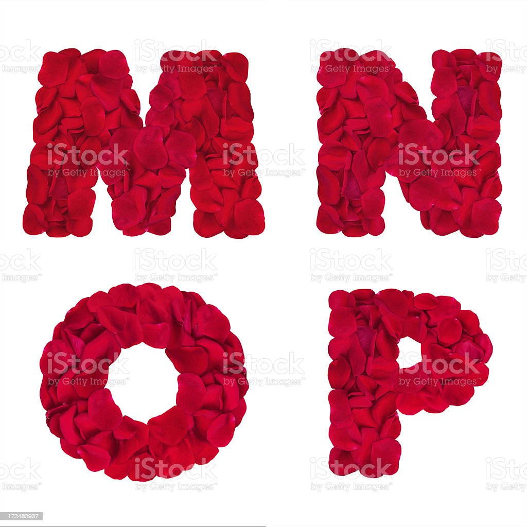 Letters 'M' 'N' 'O' 'P' made of rose petals royalty-free stock photo