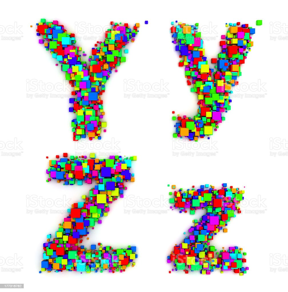 Letters made of colorful boxes royalty-free stock photo