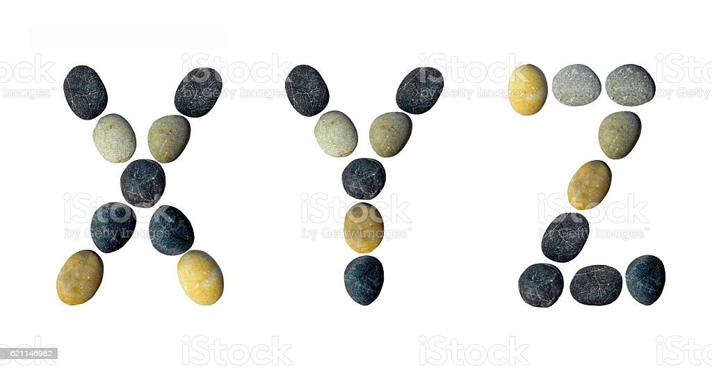 XYZ letters made of pebbles. stock photo
