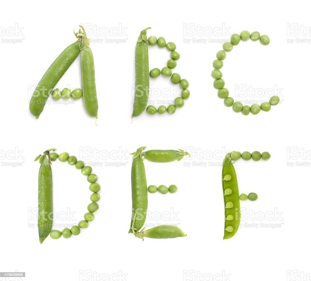 Letters of english alphabet with green peas, abc stock photo