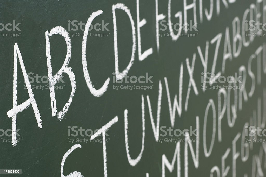 ABC letters on a blackboard royalty-free stock photo