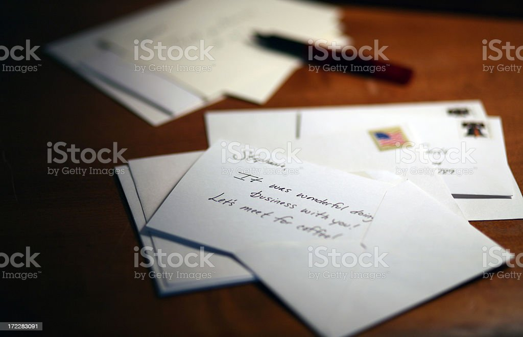 Letters on a Desk stock photo