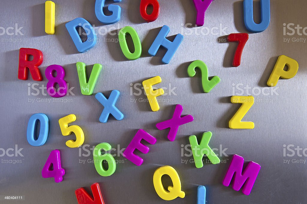 letters on a glossy surface stock photo