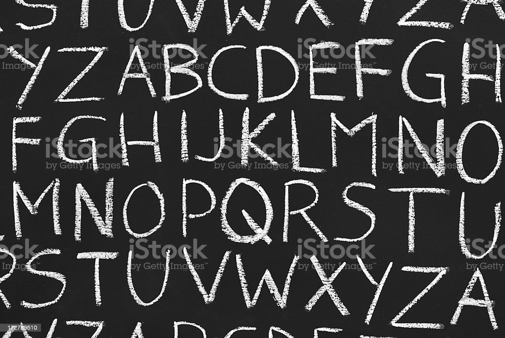 ABC letters on a school blackboard stock photo